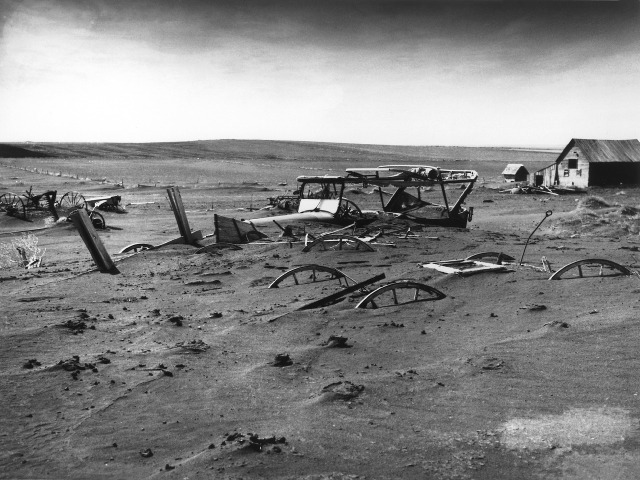 Dust bowl, buried car